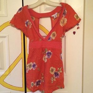 Orange floral top. Floral. Boho.